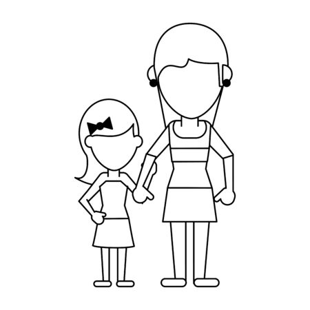 Family mother and daughter avatar faceless cartoon vector illustration graphic design Stock Illustratie