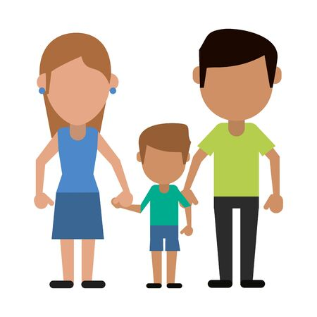 Family mother and father with son avatar faceless cartoon vector illustration graphic design