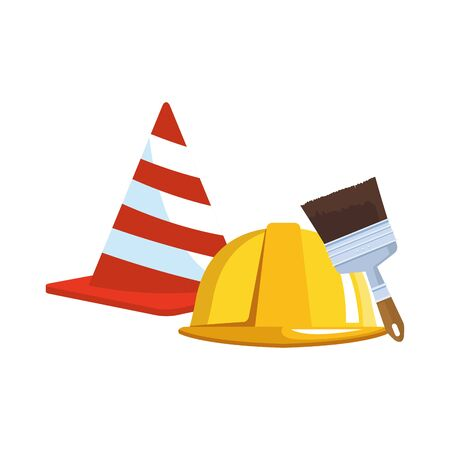 safety helmet and cone with paint brush over white background, vector illustration