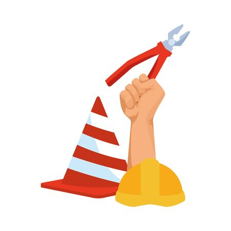 traffic cone with hand holding a pliers over white background, vector illustration