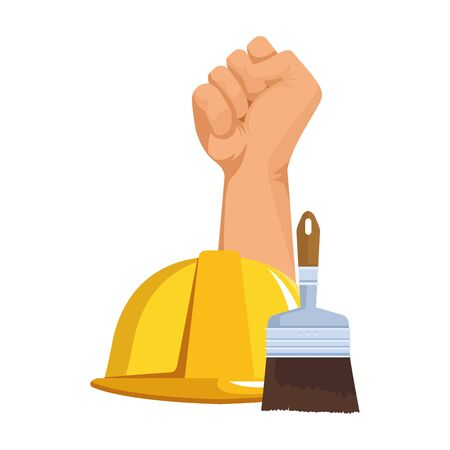 hand up and construction cone and paint brush over white background, colorful design. vector illustration Иллюстрация