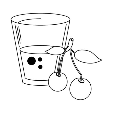 Cherry juice cup with fruit vector illustration graphic design
