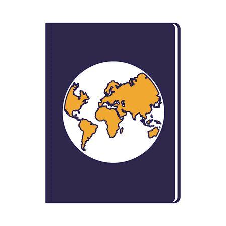 passport document icon over white background, vector illustration