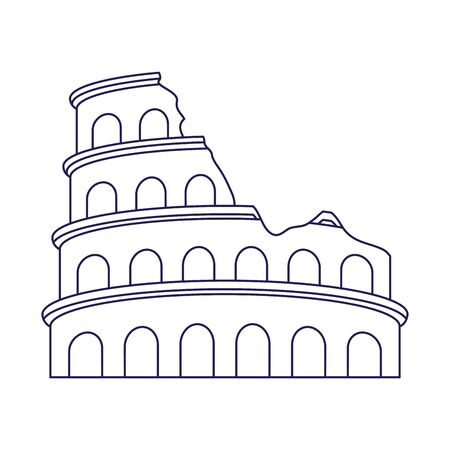Roman colosseum icon over white background, vector illustration Archivio Fotografico - 133634705
