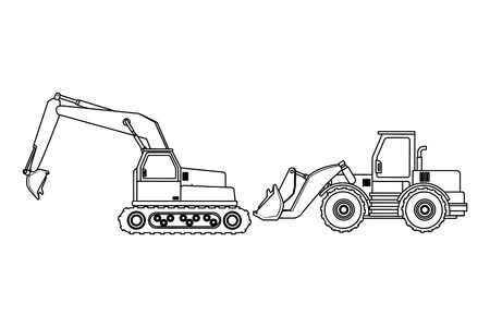 Construction vehicles backhoes machinery vector illustration graphic design Illustration