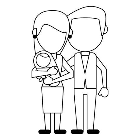Family mother and father with baby avatar faceless cartoon vector illustration graphic design