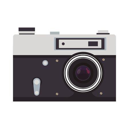 photographic camera icon over white background, vector illustration
