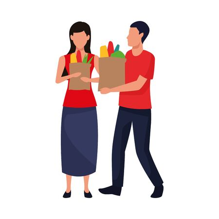 avatar man and woman with supermarket basket and bag icon over white background, colorful design. vector illustration Stock Vector - 133634887