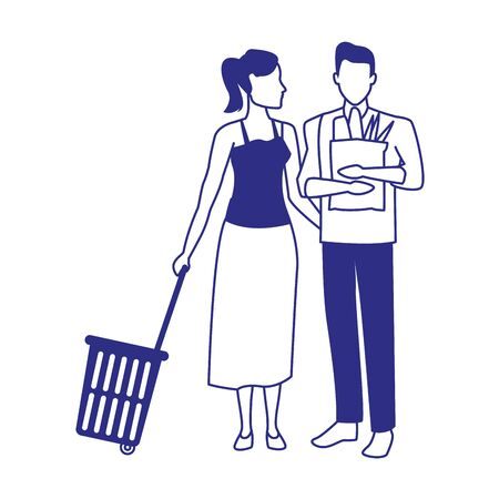 avatar man and woman with supermarket basket and bag over white background, vector illustration Ilustracja