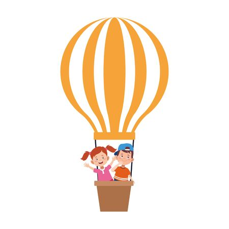 hot air balloon with boy and girl icon over white background, vector illustration