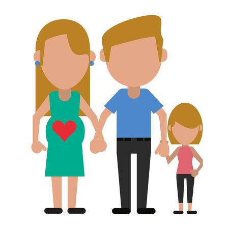 Family pregnant mother with father and daughter avatar faceless cartoon vector illustration graphic design