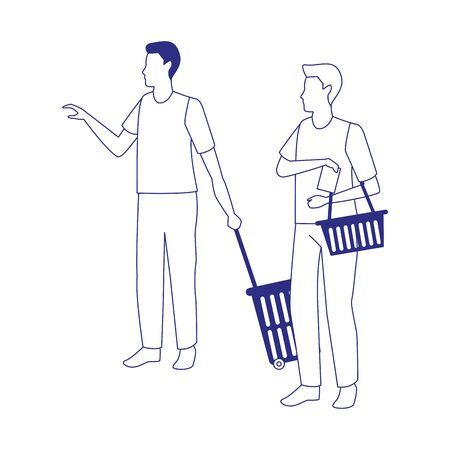 avatar men with supermarket baskets over white background, vector illustration