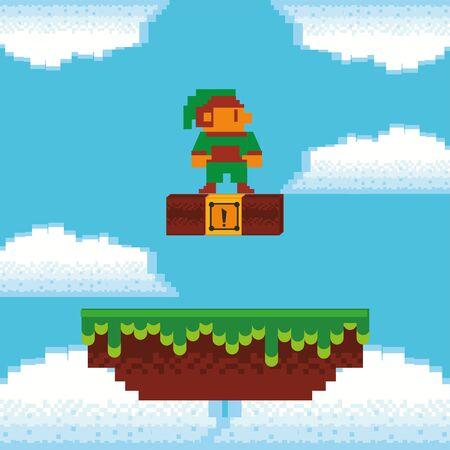 video game little elf in pixelated scene vector illustration design