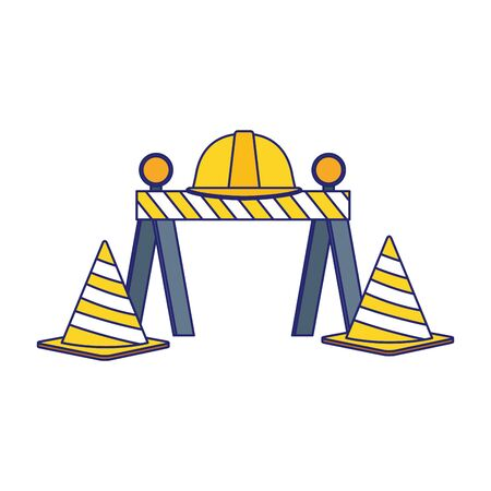 traffic barrier and cones with safety helmet over white background, vector illustration