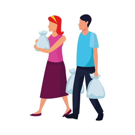 avatar man and woman with supermarket bags over white background, vector illustration