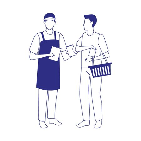 supermarket worker and customer with basket over white background, vector illustration