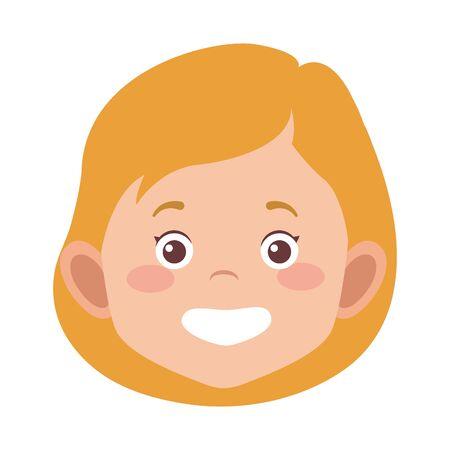 cartoon girl face icon over white background, vector illustration Stock Illustratie