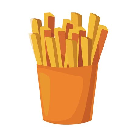 french fries box icon over white background, colorful design. vector illustration