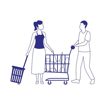 avatar woman and man with supermarket cart and basket over white background, vector illustration