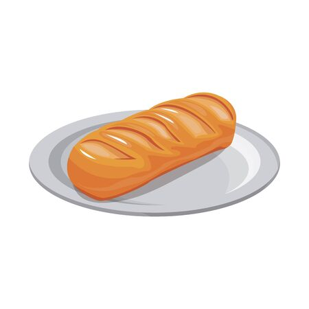 bar of bread icon over white background, vector illustration 일러스트