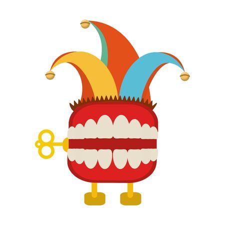 teeth box joke with jester hat Reklamní fotografie - 133632211