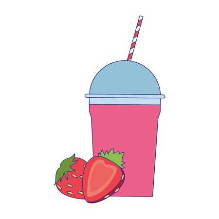 strawberry smoothie cup icon over white background, vector illustration