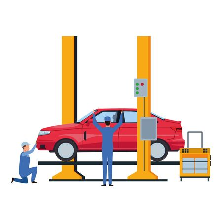industry car manufacturing assembly car artoon vector illustration graphic design Stok Fotoğraf - 133632359