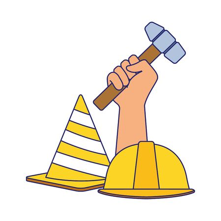 traffic cone and safety helmet with hand holding a hammer over white background, vector illustration