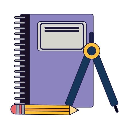 School utensils and supplies notebook with pencil and compass Designe 向量圖像