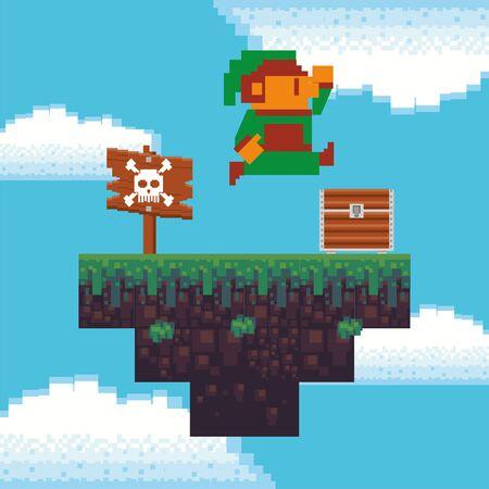 Videojuego pequeño duende en diseño de ilustración de vector de escena pixelada
