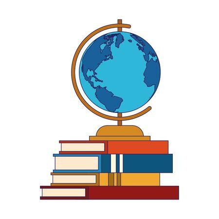 globe on stack of books over white background, vector illustration