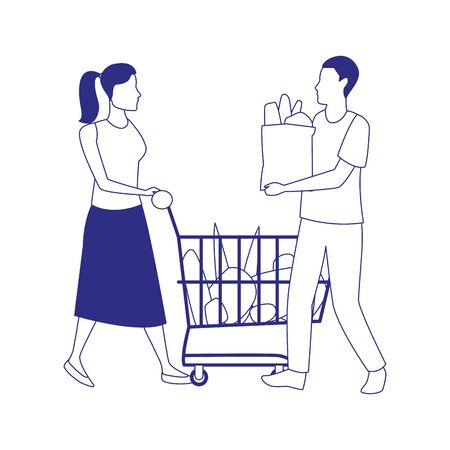man holding a bag and woman with supermarket cart icon over white background, vector illustration