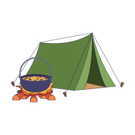 camping tent and bonfire with pot icon over white background, vector illustration