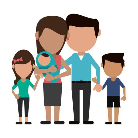 Familienavatar Vater und Mutter mit Kindern gesichtslose Cartoon-Vektor-Illustration-Grafik-Design