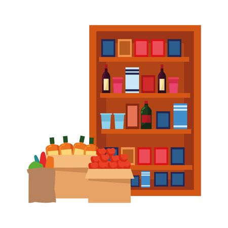 boxes and supermarket shelves with bottles and groceries products over white background, vector illustration