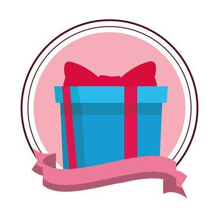 gift box icon isolated round icon and ribbon vector illustration graphic design