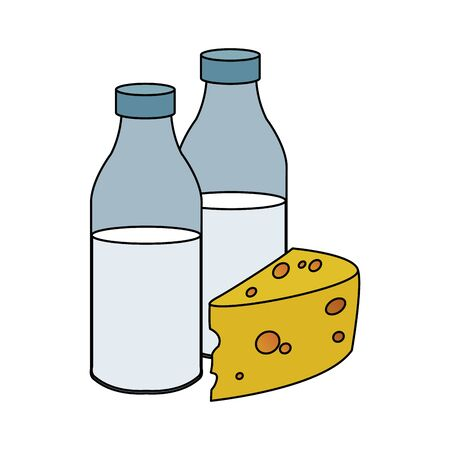 milk bottles and cheese piece over white background, vector illustration