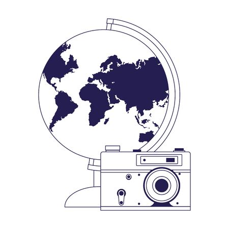 earth globe and photographic camera icon over white background, vector illustration Иллюстрация