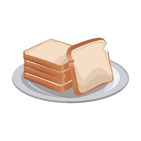 plate with loaves icon over white background, vector illustration