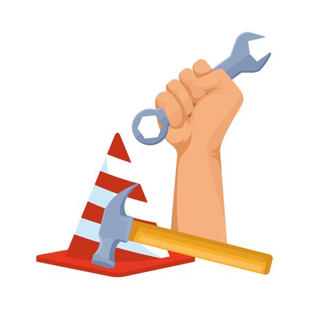 hand holding a wrench and safety cone with a hammer over white background, vector illustration Ilustração