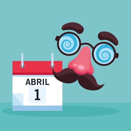 April fools joke cartoon planner with mustache nose and glasses vector illustration graphic design