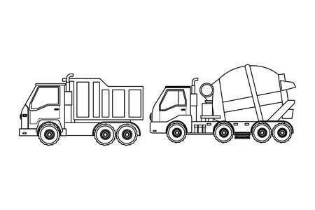 Construction vehicles truck and cement truck machinery vector illustration graphic design Stock Vector - 133639757