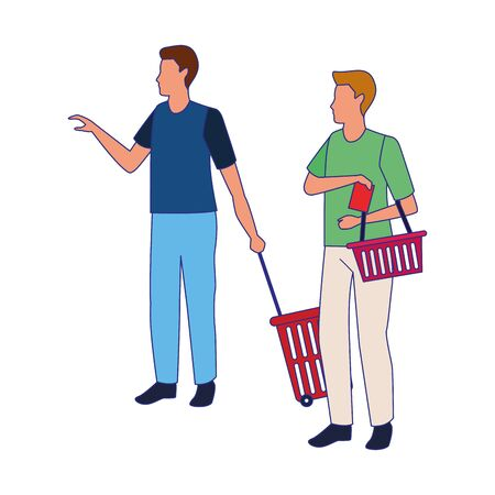 avatar men with supermarket baskets over white background, colorful design. vector illustration