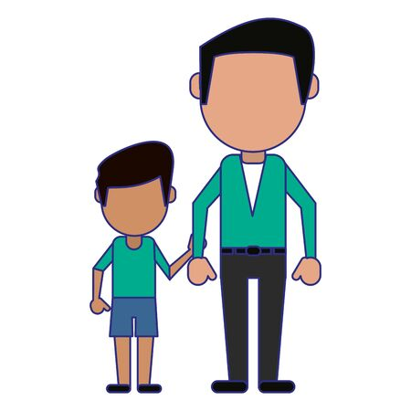 Family father with daughter avatar faceless cartoon vector illustration graphic design