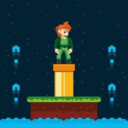 video game warrior and pipeline in pixelated scene vector illustration design