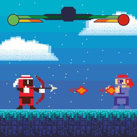 video game warriors in pixelated scene vector illustration design
