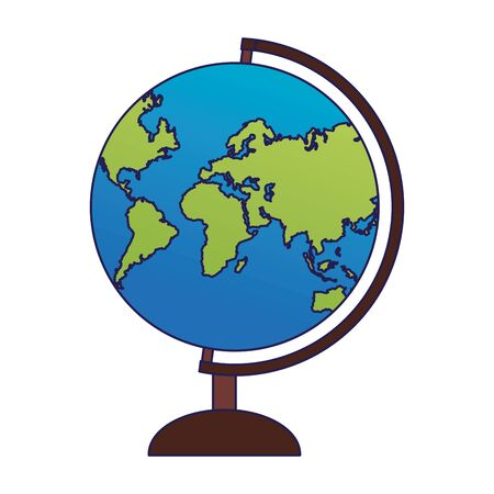 earth globe icon over white background, vector illustration