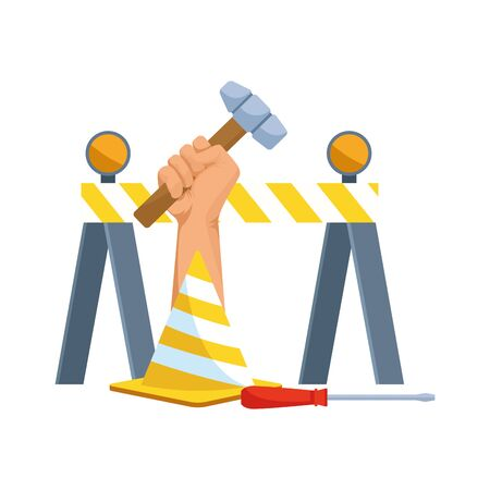 safety barrier and cone with hammer and screwdriver over white background, vector illustration