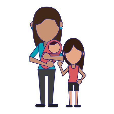 Family mother with baby avatar faceless cartoon vector illustration graphic design