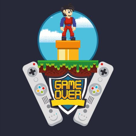 video game pixelated controls icons vector illustration design Ilustrace